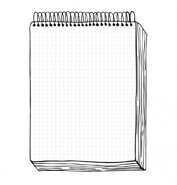 Sketch of notebook. Vector illustration with hand drawn leaf of notebook. Clip art. Notepad with clear page stock vector