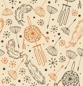 etnický vzor. bezešvé pozadí případu s květinami, peří a lapače snů. pozadí v indickém stylu pro design a dekorace