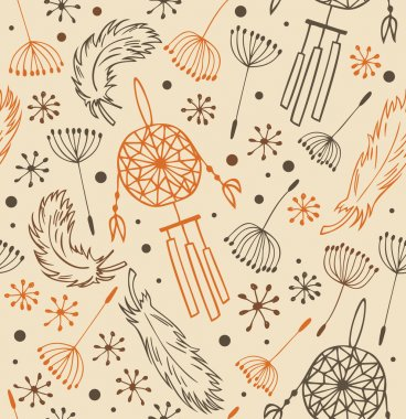 Ethnic pattern. Seamless national background with flowers, feathers and dream catchers. Background in the Indian style for design and decoration