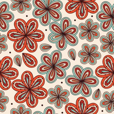 Doodle bright decorative seamless fabric texture. Background with flowers. Vintage pattern