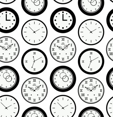Seamless pattern texture with contours of round clocks. Time outline background