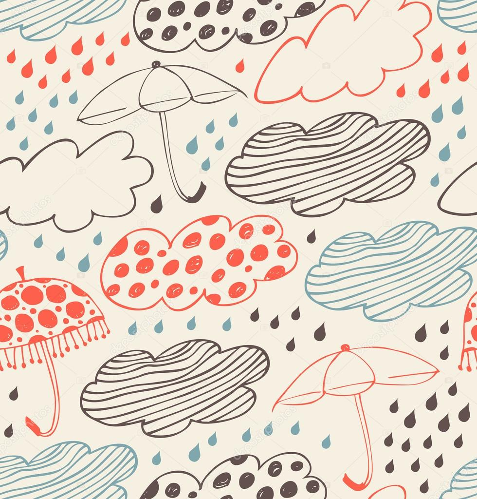 Rainy seamless decorative background. Ornate pattern with clouds, umbrellas and drops of rain. Cartoon stylish texture with many cute details