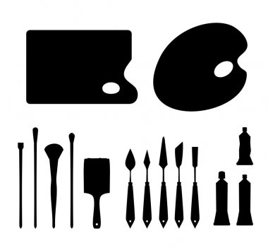 Set of black contour artistic instruments silhouettes. Icon collections of brushes, palette knifes, palettes and tubes of oil colors