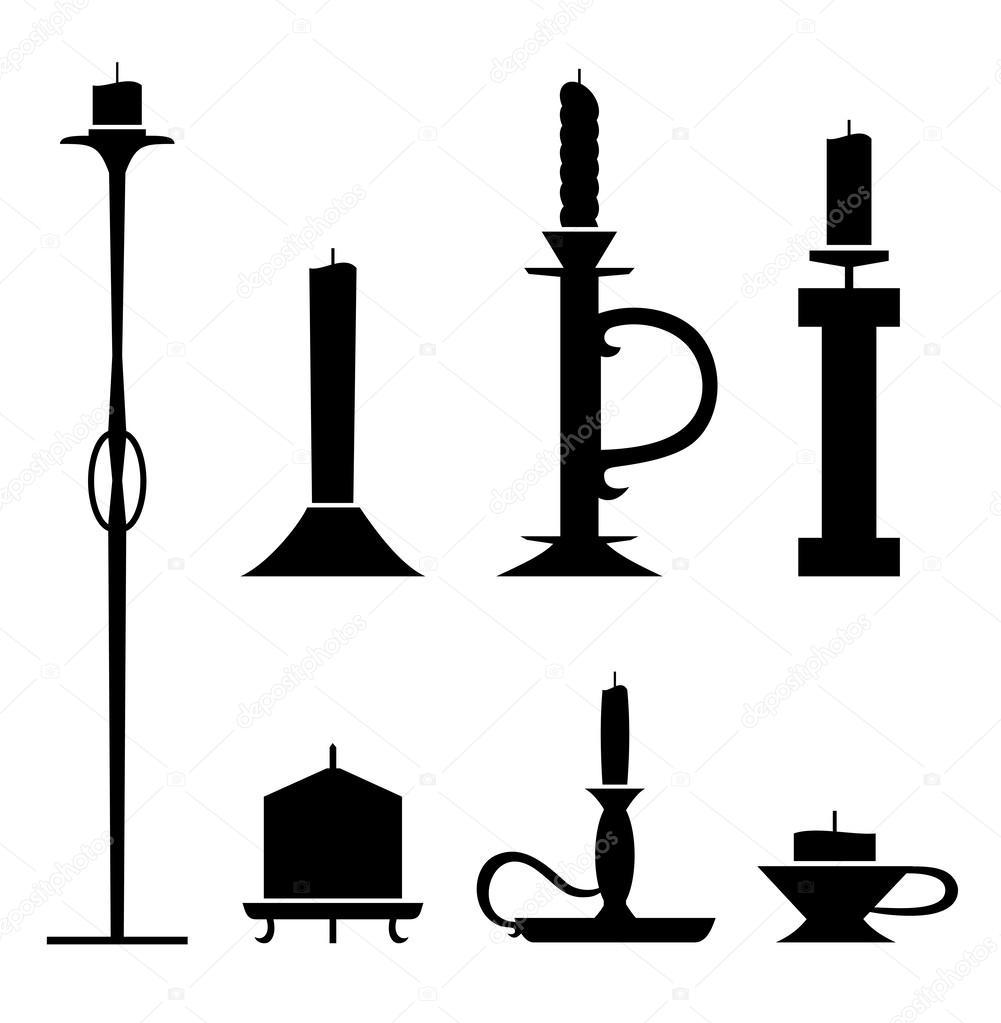 par de candelabros de plantilla con velas. colección de iconos de ...
