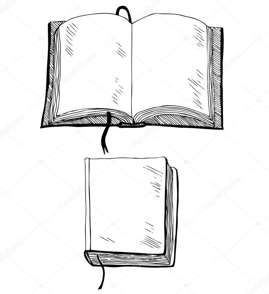 Skizze des Buches. Hand Abbildung mit leeren Deckel zu ertränken und ...