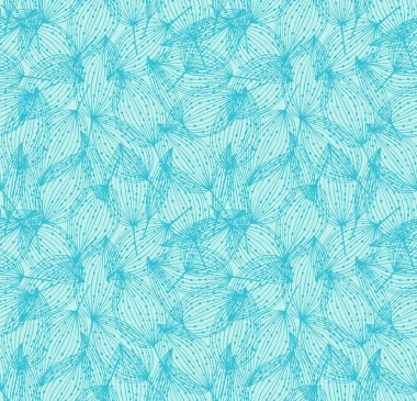 Floral seamless pattern. Turquoise linear background with leaves. Decorative leaves with dots