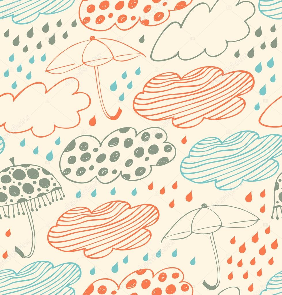 Bright rainy seamless background. Lace pattern with clouds, umbrellas and drops of rain. Cartoon doodle texture with many beauty details