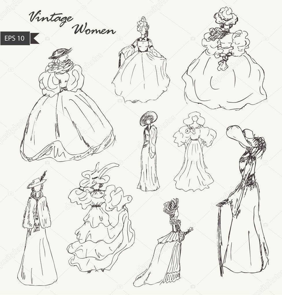 Dibujos Mujeres Retro Gran Colección De Dibujos De Mujeres En
