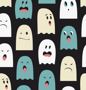 Seamless pattern with cute ghosts.
