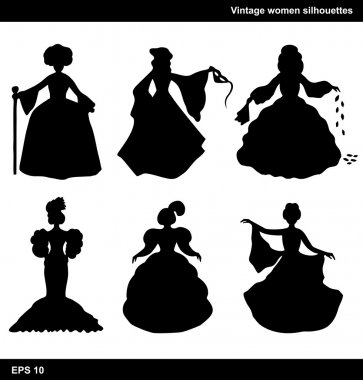 Vintage set of women vector silhouettes
