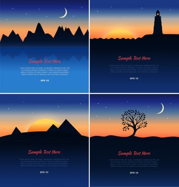 Set of beautiful landscapes silhouettes.