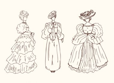 Sketchy vintage women silhouettes.