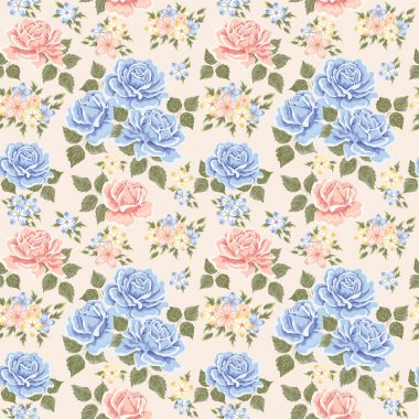 Seamless wallpaper pattern with roses