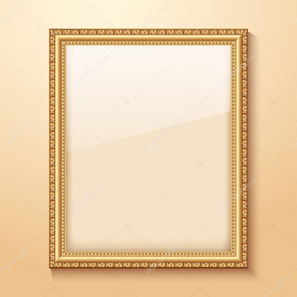 cadre or vide accroch au mur image vectorielle kolobock. Black Bedroom Furniture Sets. Home Design Ideas