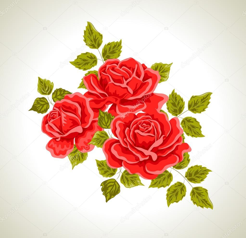 バラ花の花束とイラスト ストックベクター Kolobock 42546239