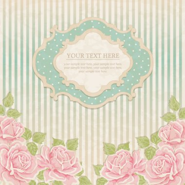Vintage background with roses. Greeting card, invitation stock vector