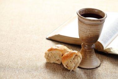Communion still life - wine, bread and Bible