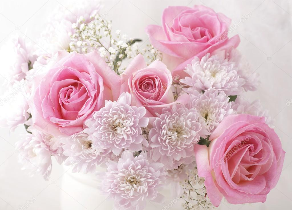 Pink and white flowers in a vase. Stock Photo by ©MKucova ...