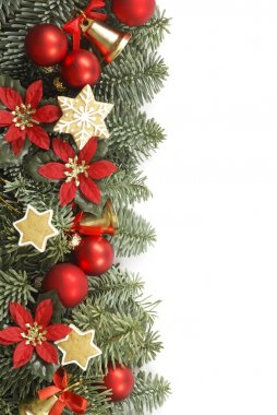 Holiday frame with Christmas tree branches and decorations