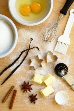 Baking utensils, spices and food ingredients.
