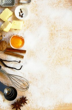 Baking utensils, spices and food ingredients