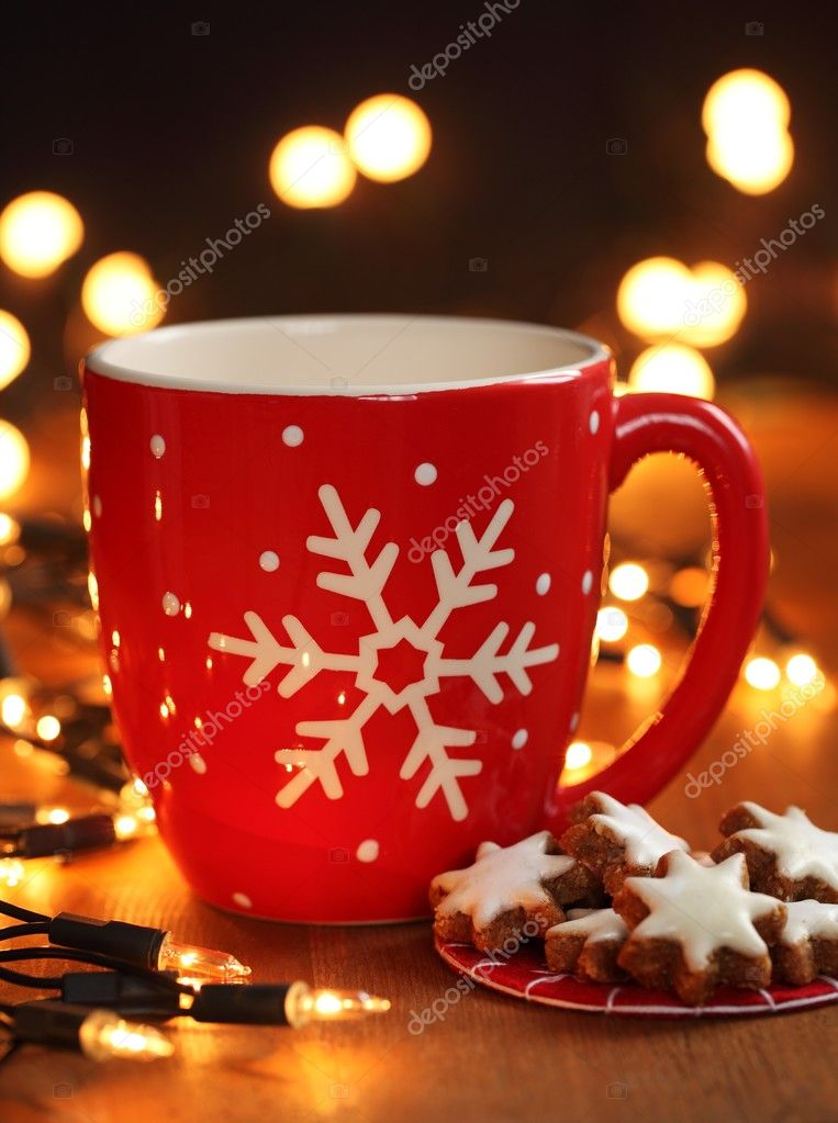 Mug With Hot Drink And Christmas Cookies Stock Photo