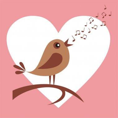 Cute bird singing love song stock vector