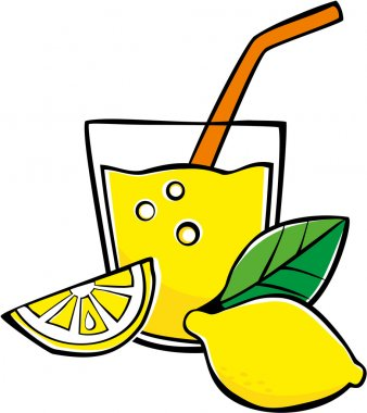Glass with lemonade and lemons