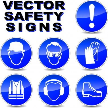 Vector illustration of safety signs on white background stock vector