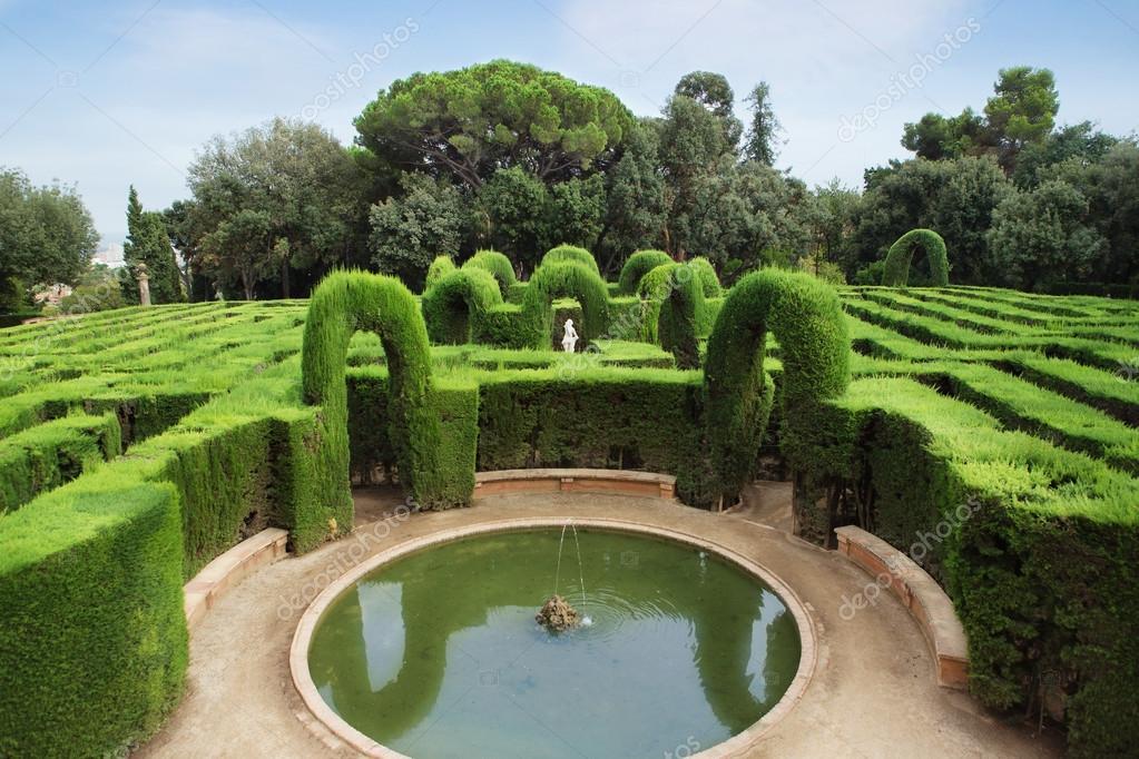 Park labyrinth in Barcelona Spain, Catalonia. Small fountain.