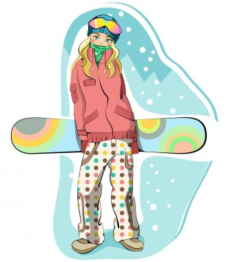 Lovely happy snowboarder