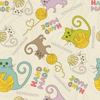 Needlework, cats, knitting, sewing. Seamless pattern