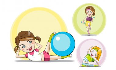 Set of vector sport theme characters yoga fitness