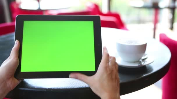 Video footage with tablet computer Green screen