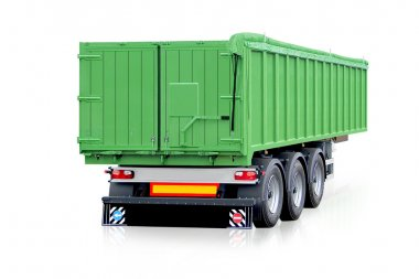 Green trailer, truck