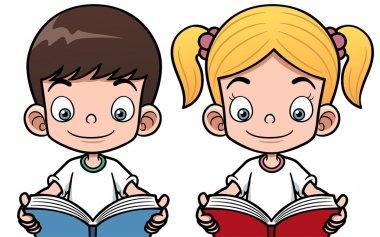 Cartoon boy and girl reading a book