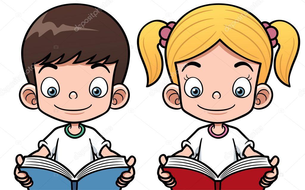 Niño Y Niña Leyendo Un Libro
