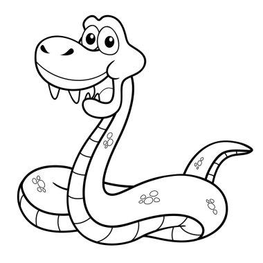 Cartoon Snake - Coloring book