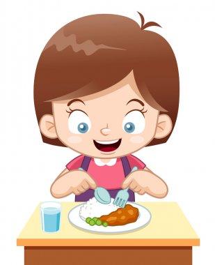 Vector illustration of Cartoon Girl eating stock vector