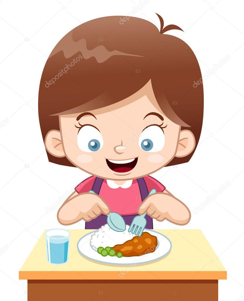 Fille de dessin anim manger image vectorielle sararoom 28833263 - Dessin manger ...