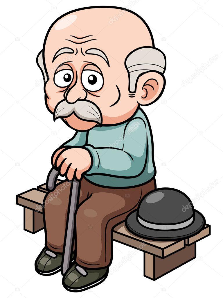 Banco de sentarse de hombre viejo de dibujos animados - Fotos de bancos para sentarse ...