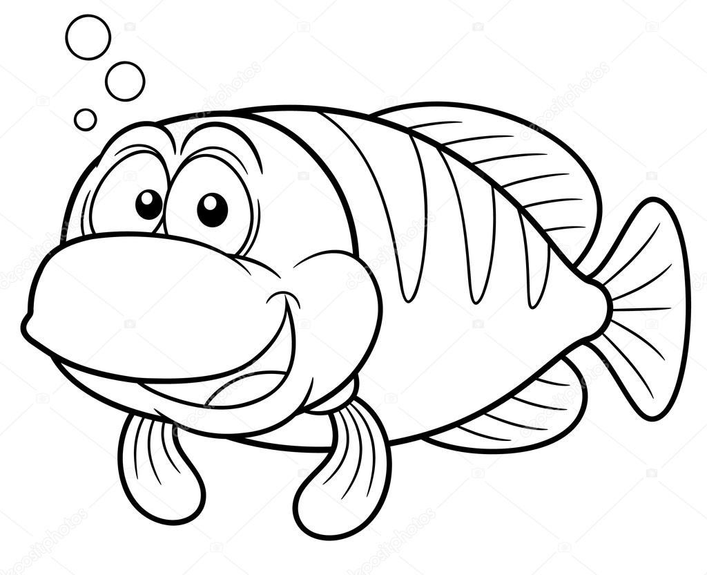 Dibujos Un Pescado Dibujos Animados De Pescado Vector De Stock