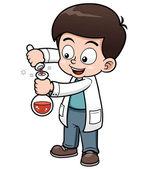 Fotografia piccolo scienziato holding provetta