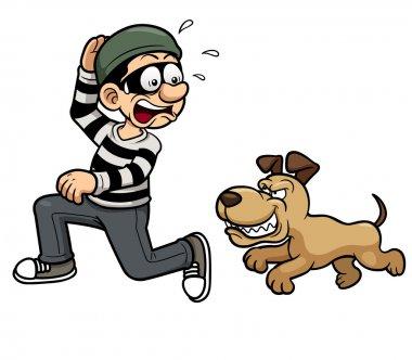 Thief running a dog