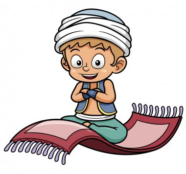 Boy sitting on flying carpet