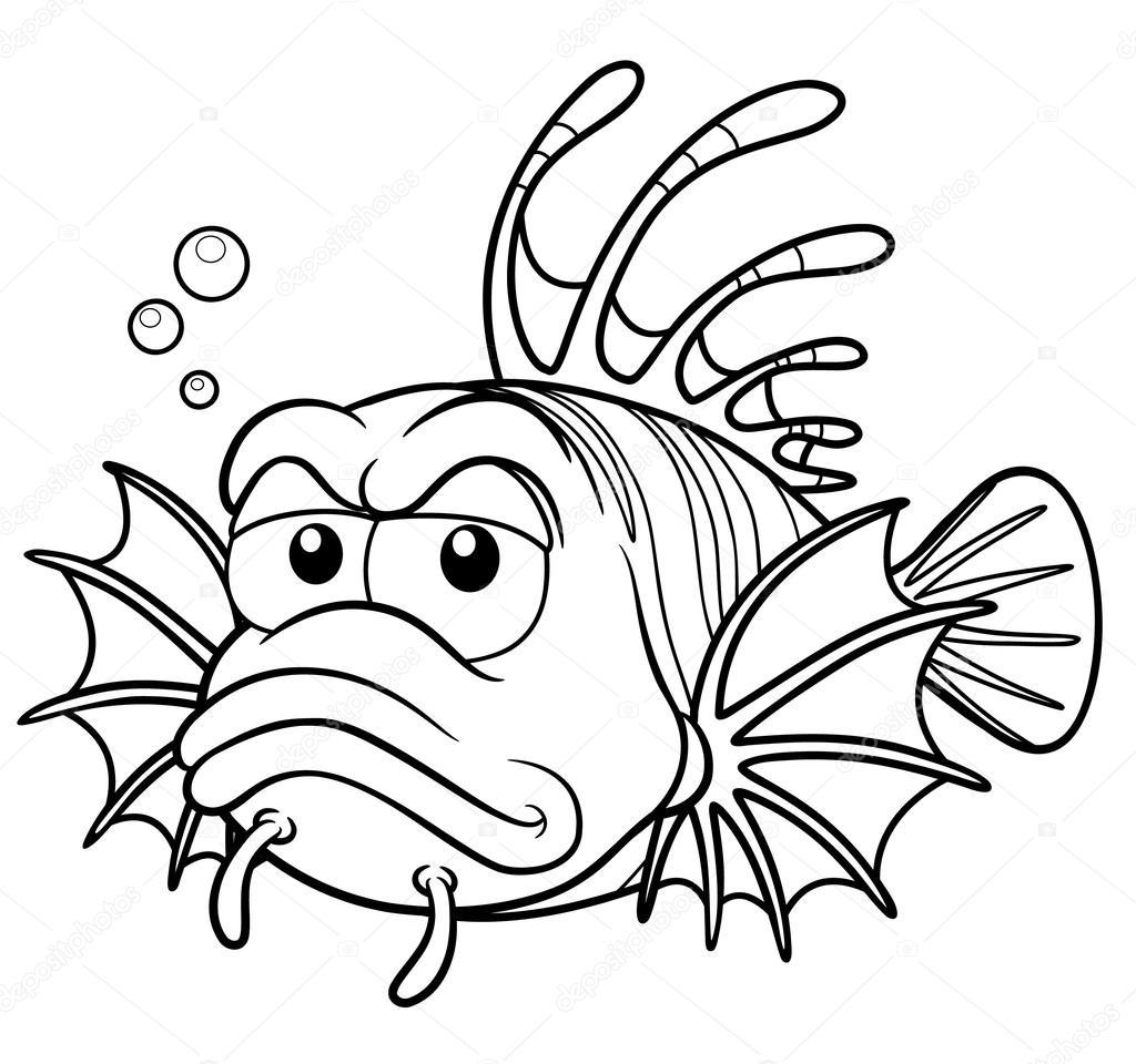 pez león de dibujos animados — Vector de stock © sararoom #29309439