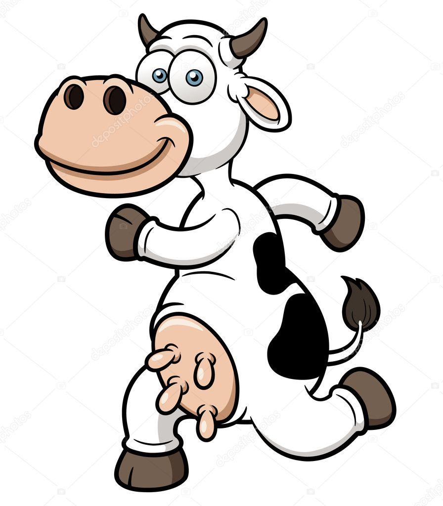 A running cow cartoon