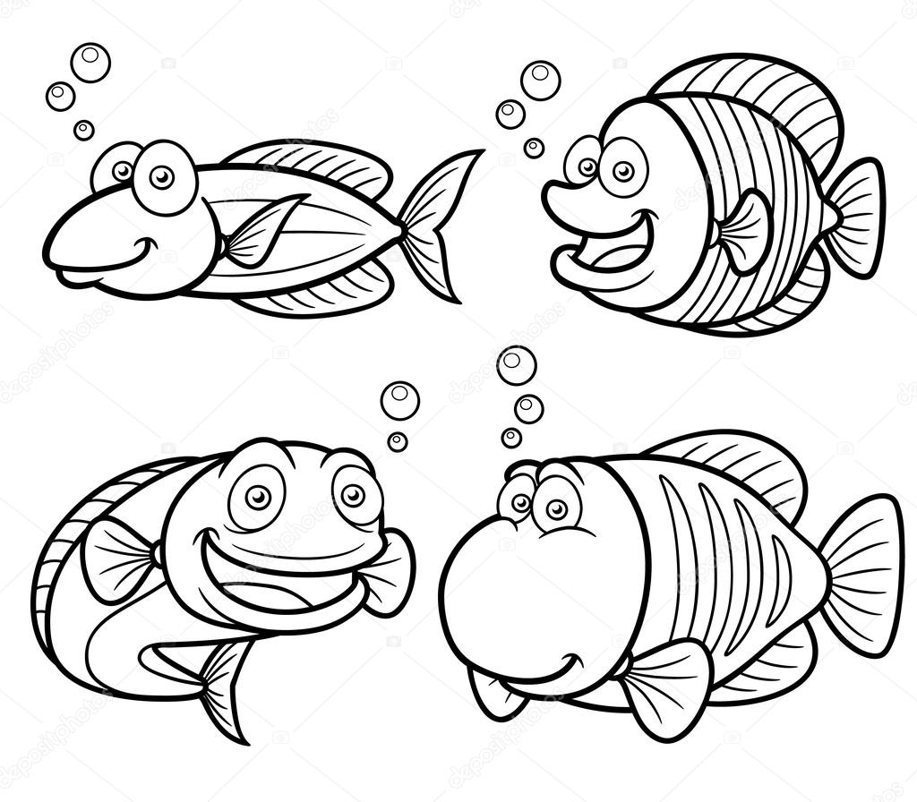 conjunto de peces de mar — Archivo Imágenes Vectoriales © sararoom ...