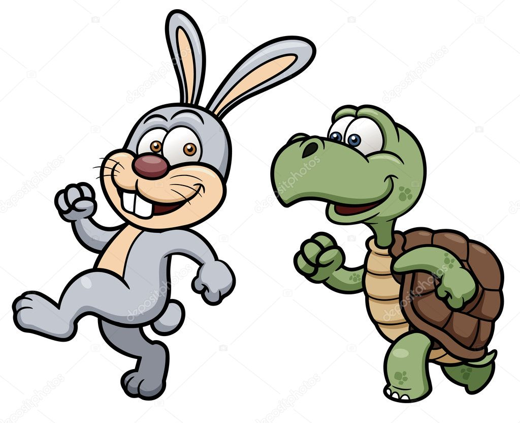 Cartoon Rabbit and turtle