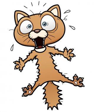 Scared cartoon cat